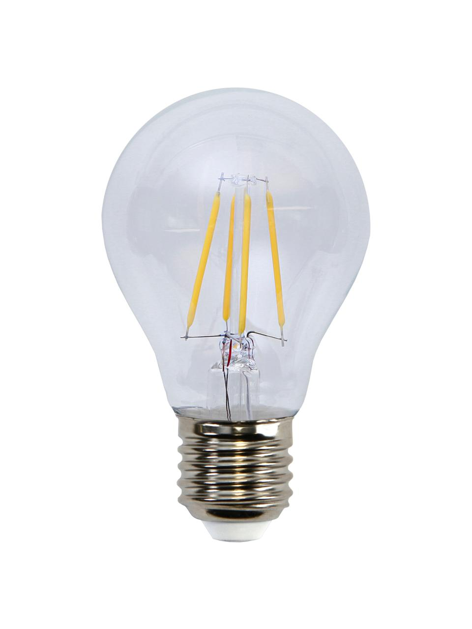 E27 Leuchtmittel, 4W, dimmbar, warmweiß, 1 Stück, Leuchtmittelschirm: Glas, Leuchtmittelfassung: Aluminium, Transparent, Ø 6 x H 11 cm