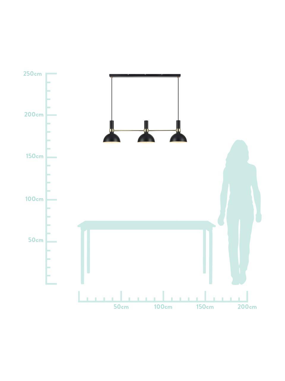 Grande suspension scandinave 3 lampes Larry, Noir, laiton