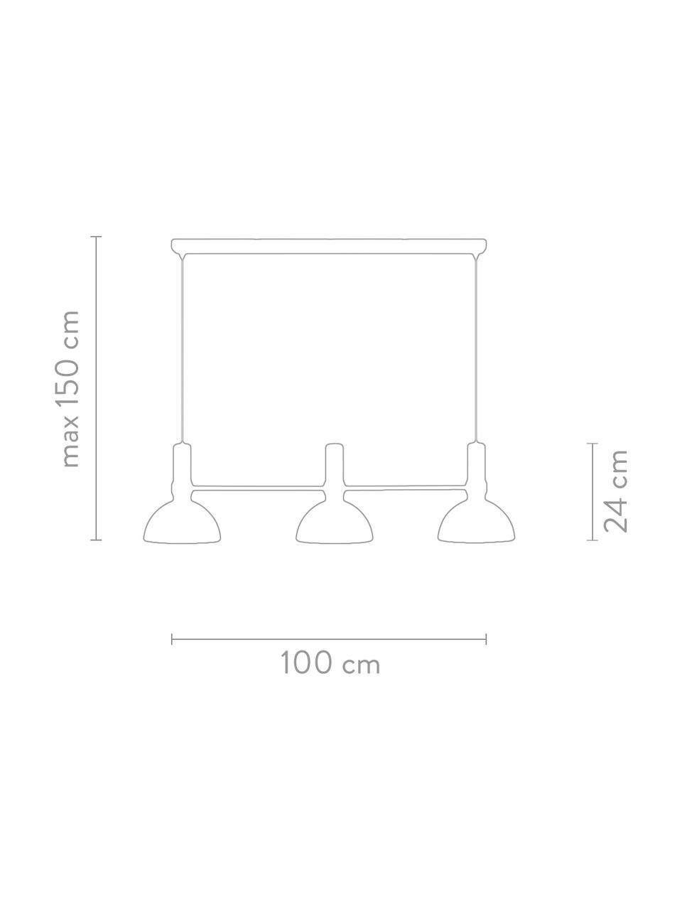 Duża lampa wisząca Larry, Czarny, mosiądz, S 100 x W 24 cm