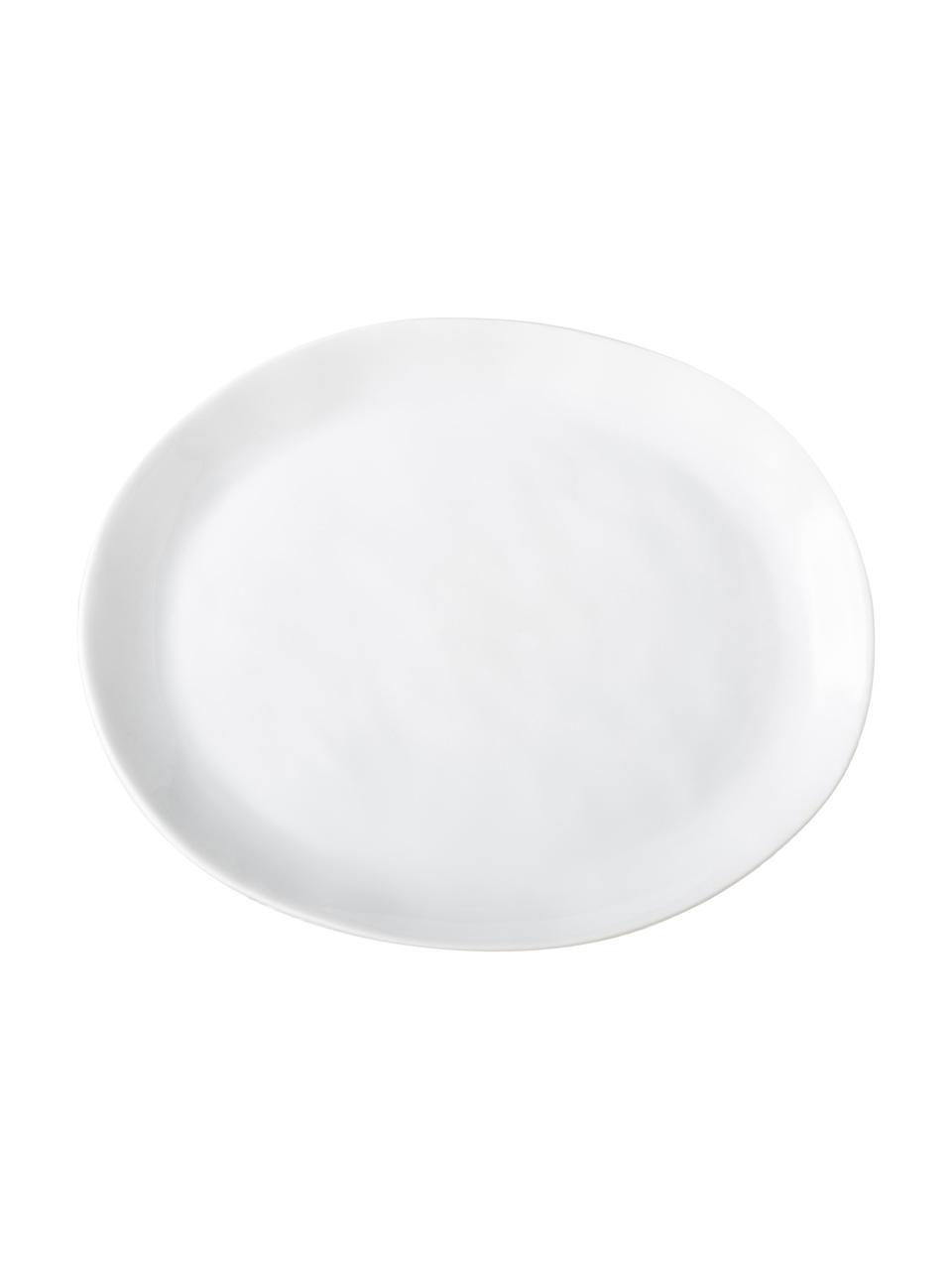 Assiettes à dessert ovale à surface inégale Porcelino, 4pièces, Blanc