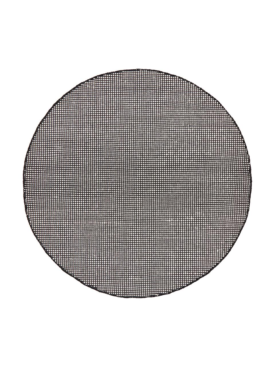 Runder Wollteppich Amaro in Schwarz/Creme, handgewebt, 38% Wolle, 22% Polyester, 20% Baumwolle, 20% Polyamid, Schwarz, Cremeweiß, Ø 140 cm (Größe M)
