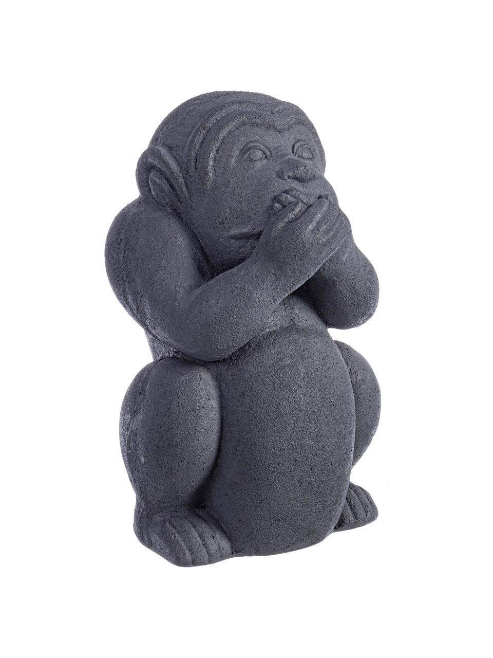 Oggetto decorativo Monkey, Cemento rivestito, Antracite, Larg. 22 x Alt. 36 cm