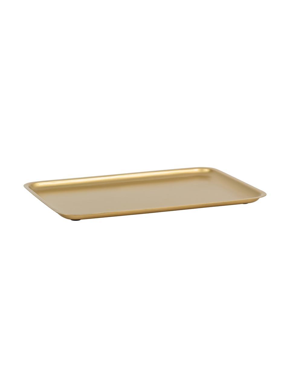 Tablett Good Morning in Gold, B 23 x L 34 cm, Metall, beschichtet, Messingfarben, B 34 x T 23 cm