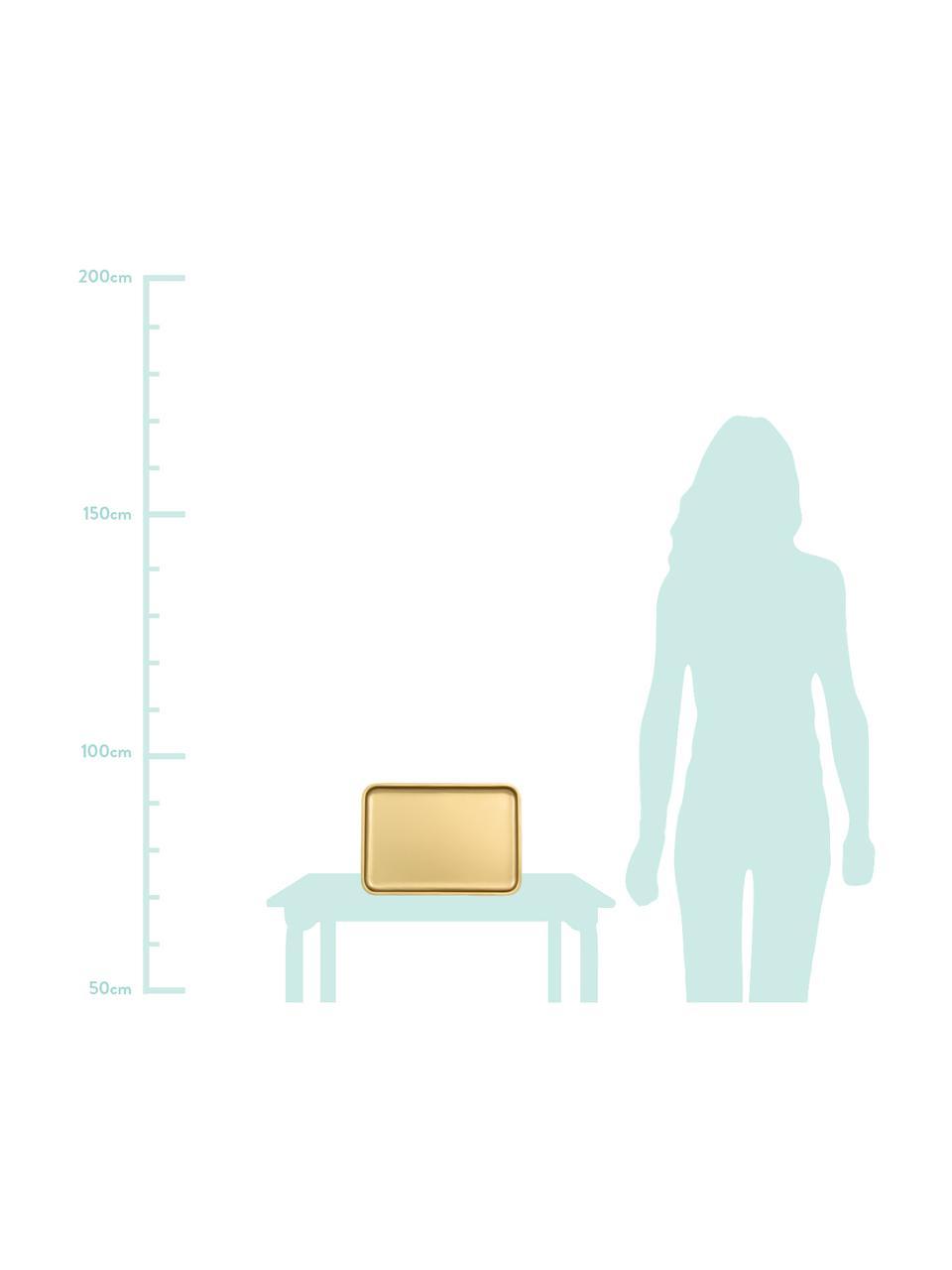 Plateau en métal doré Good Morning, larg.23 x long. 34cm, Couleur laitonnée