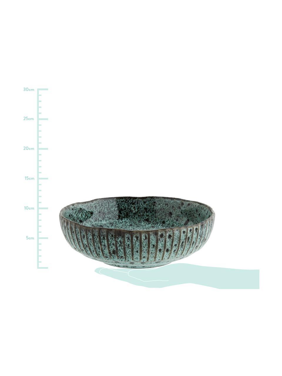 Steingut Schüssel Vingo in Blaugrün/Schwarz, Ø 26, Steingut, Blaugrün, Schwarz, Ø 26 x H 8 cm