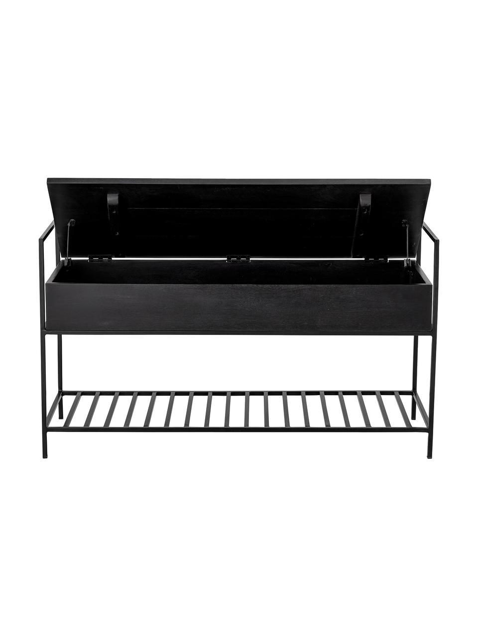 Sitzbank Abelone mit Stauraum, Sitzfläche: Mangoholz, beschichtet, Gestell: Metall, beschichtet, Schwarz, B 102 x T 40 cm