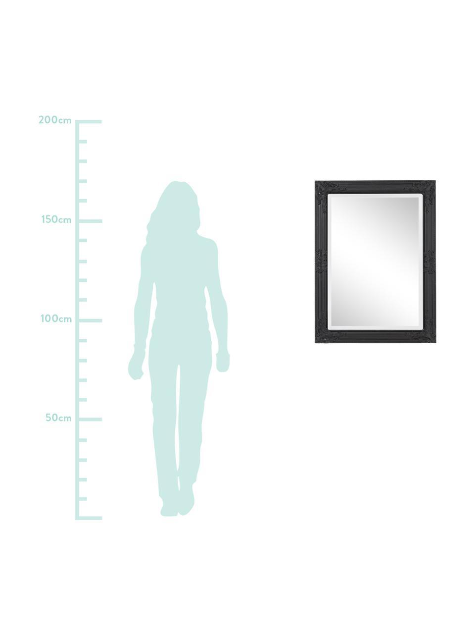 Specchio da parete con cornice in legno nero Miro, Cornice: legno, rivestito, Superficie dello specchio: lastra di vetro, Nero, Ø 62 x Alt. 82 cm