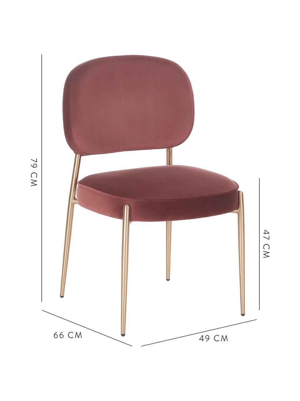 Sedia imbottita in velluto Viggo, Rivestimento: velluto (poliestere) 50.0, Velluto marrone, Larg. 49 x Prof. 66 cm