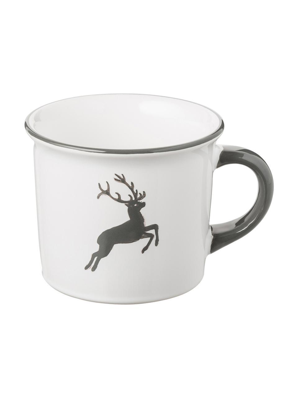 Handbeschilderde koffiemok Classic Grey Deer, Keramiek, Grijs, wit, 240 ml