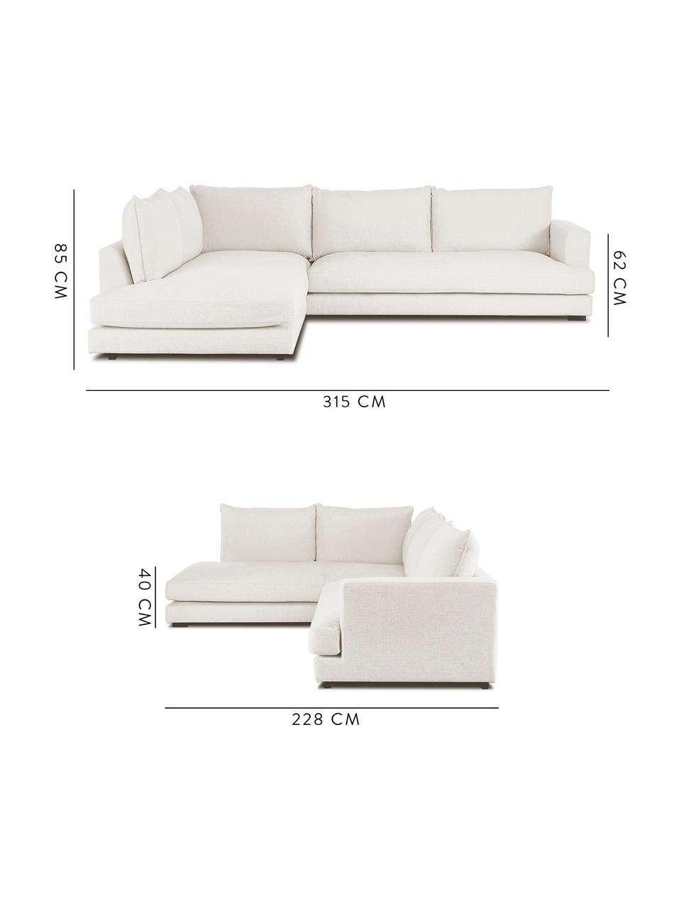 Duża sofa narożna Tribeca, Tapicerka: poliester Dzięki tkaninie, Nogi: lite drewno bukowe, lakie, Beżowy, S 315 x G 228 cm