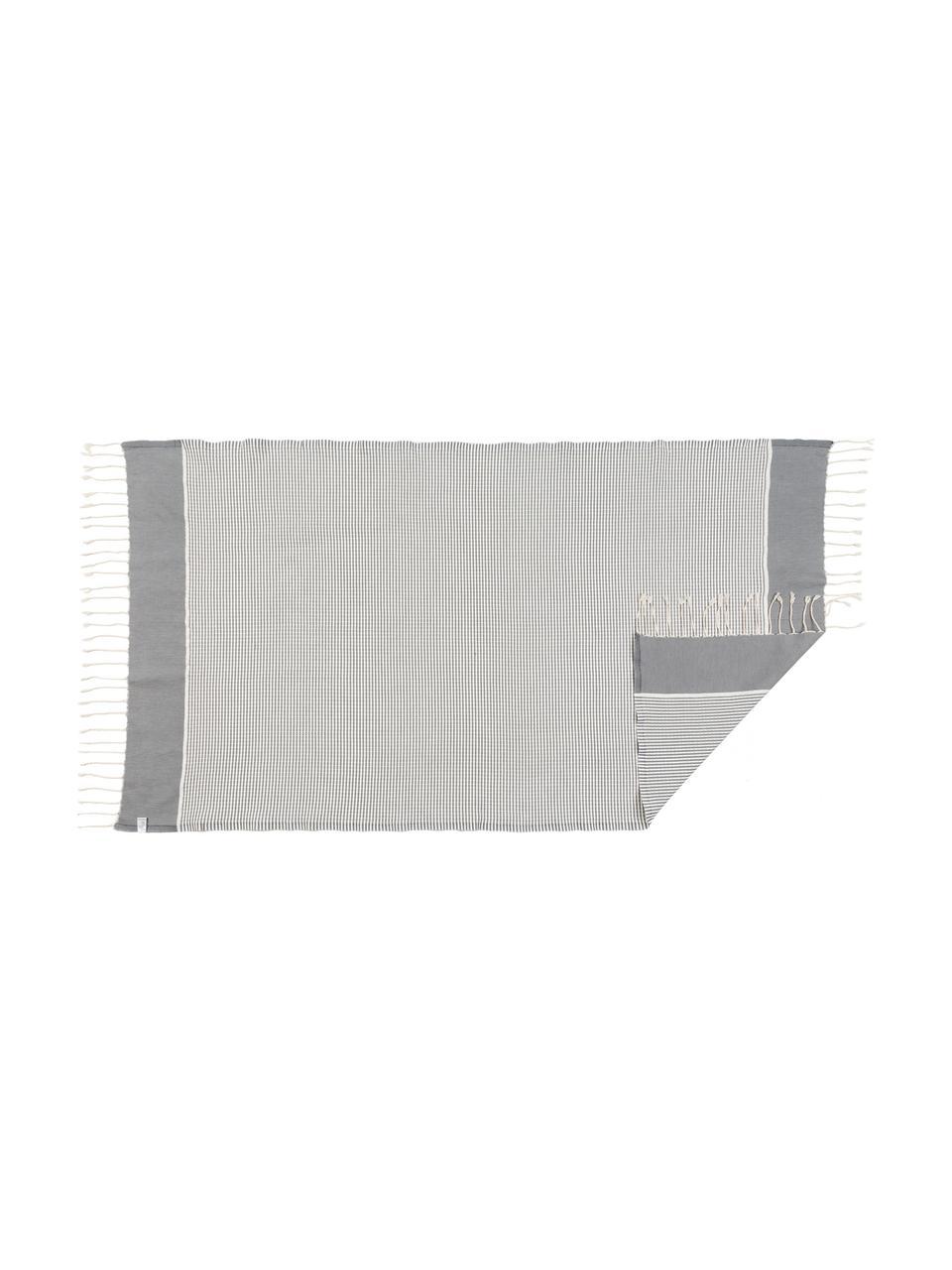 Leichtes Handtuch-Set Copenhague mit Lurexborte, 3-tlg., Grau, Silberfarben, Weiß, Sondergrößen