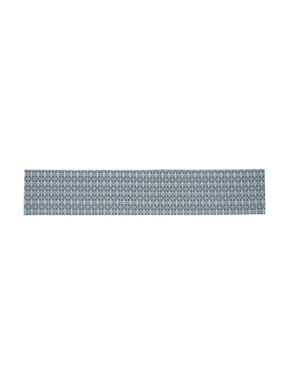 Runner idrorepellente e reversibile Fishbone, Poliestere, Bianco, blu, Larg. 33 x Lung. 178 cm
