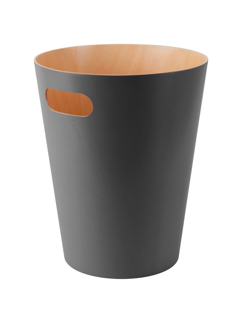 XS Papierkorb Woodrow Can, Holz, lackiert, Anthrazit, Ø 23 x H 28 cm
