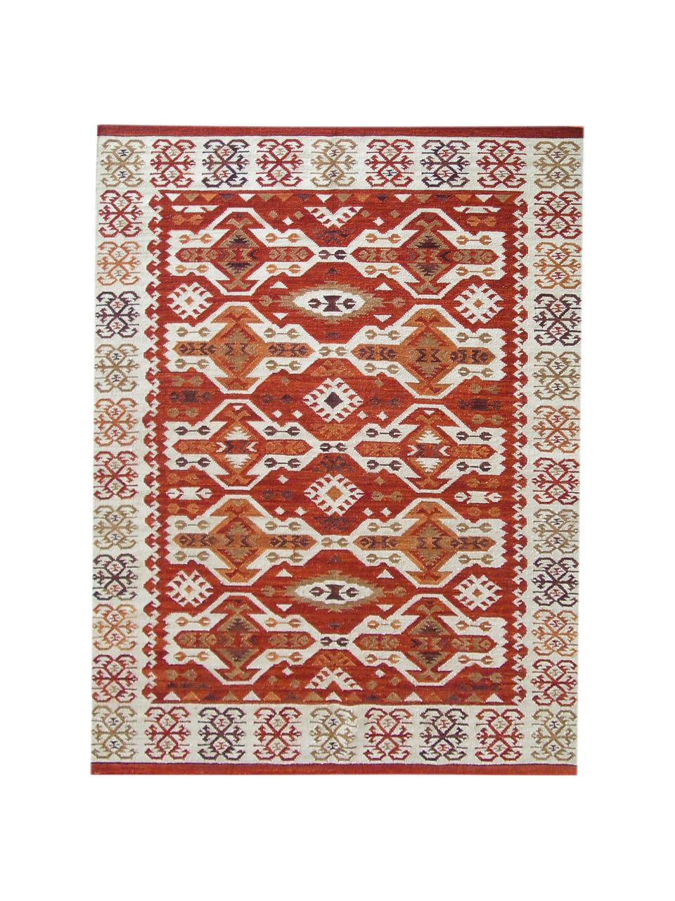 Handgewebter Kelimteppich Ria aus Wolle, 100% Wolle, Rot, Beige, Orange, Braun, B 120 x L 180 cm (Größe S)