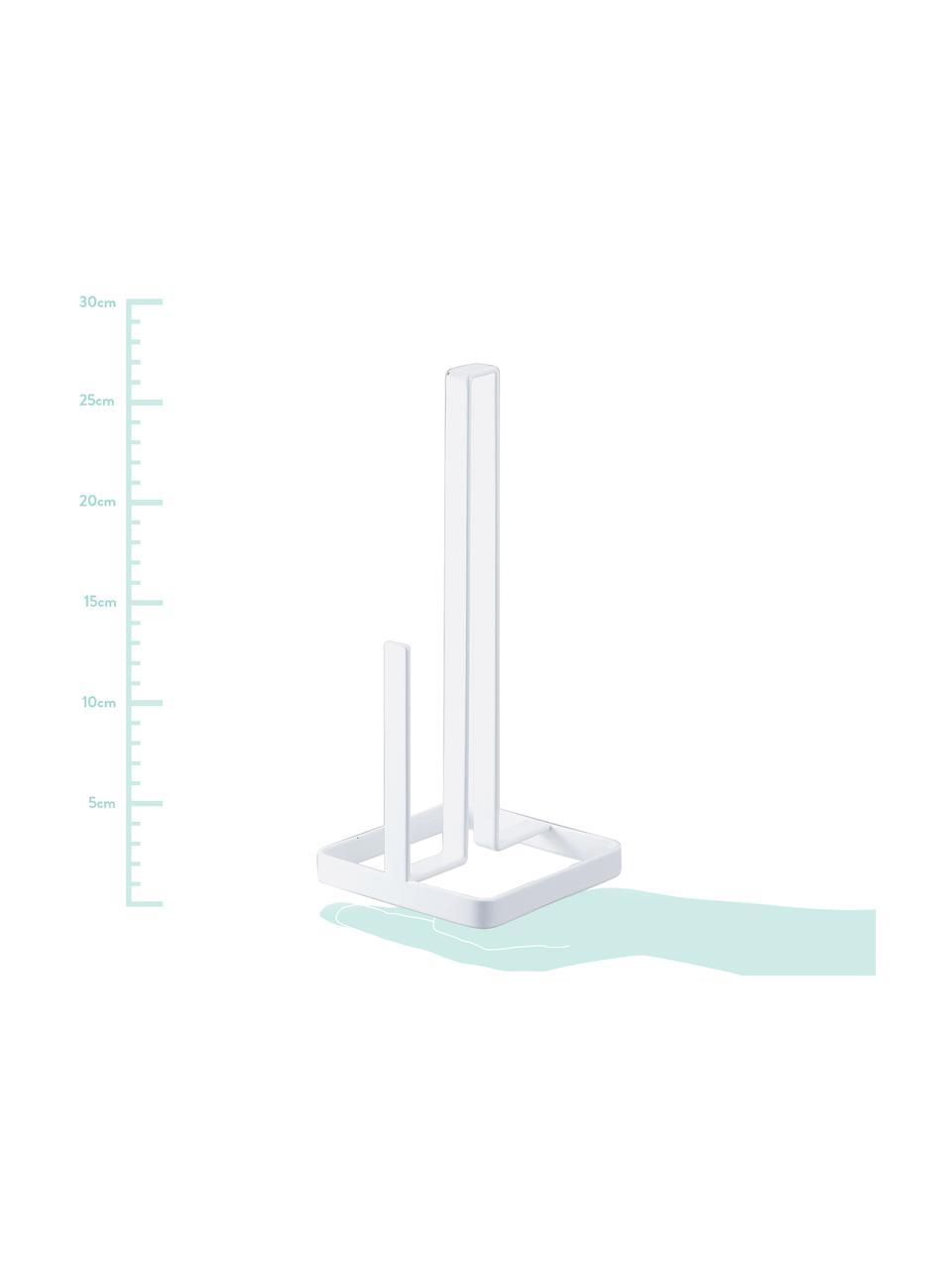 Portarotolo da cucina Tower, Acciaio rivestito, Bianco, Larg. 11 x Alt. 27 cm