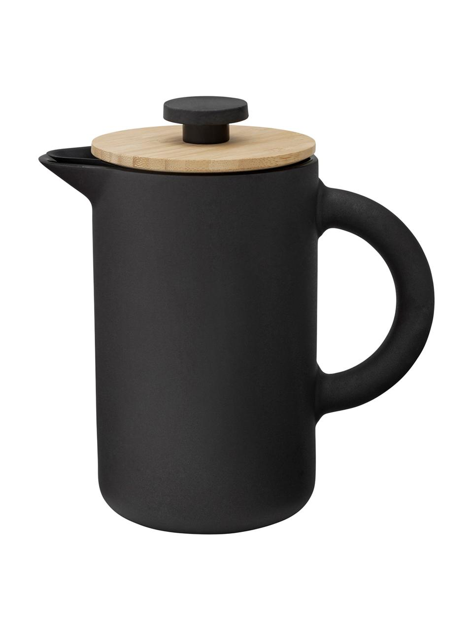 Koffiebrouwer Theo, Keramiek, Mat zwart. Deksel: lichtbruin, 800 ml