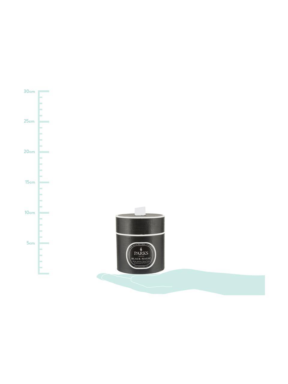 Świeca zapachowa Black Magic (jasny jaśmin, jagodlin wonny & drzewo sandałowe), Czarny, biały, Ø 8 x W 9 cm