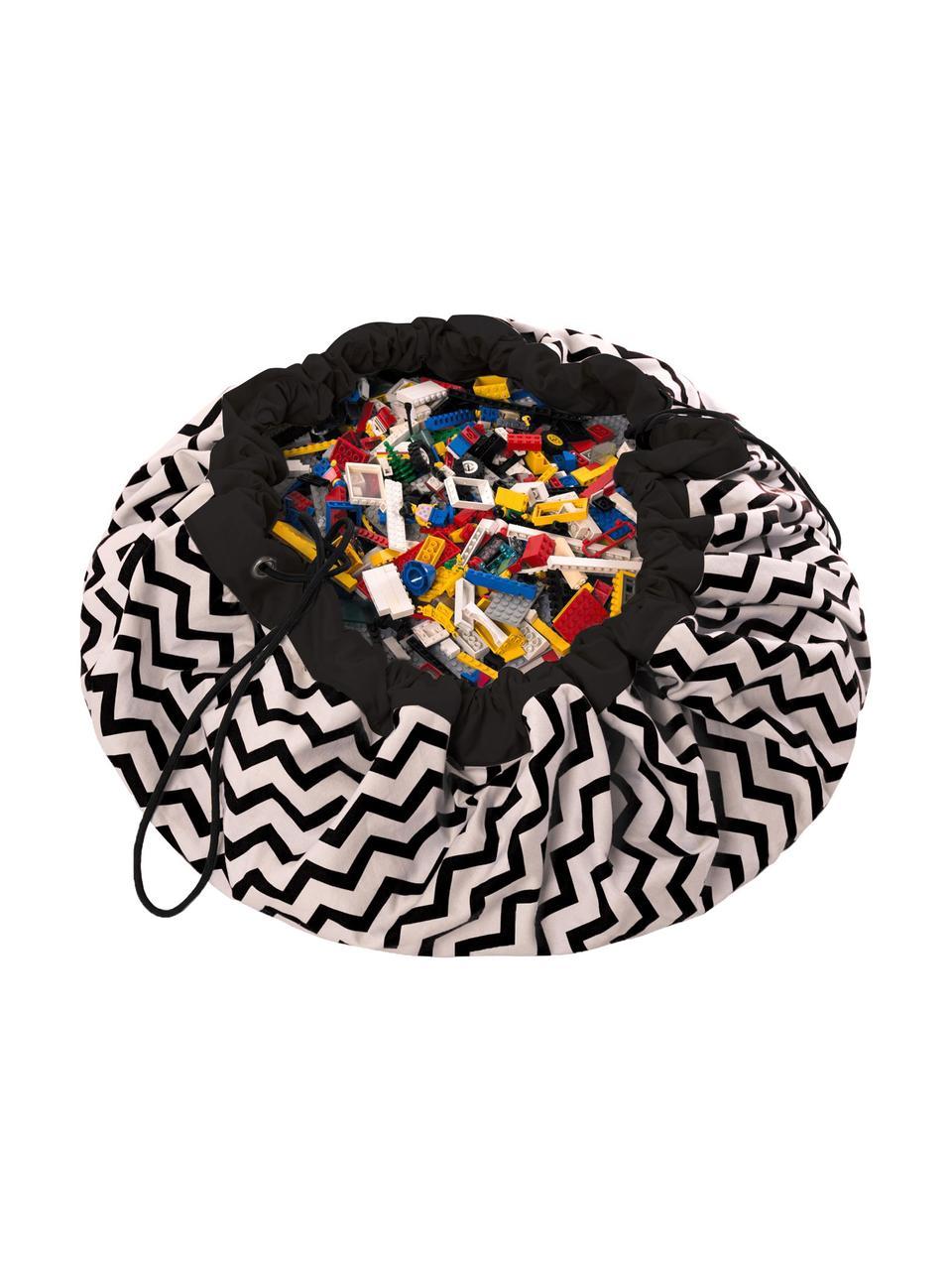 Spieldecke Zigzag, Polyester, Schwarz, Weiss, Ø 140 cm