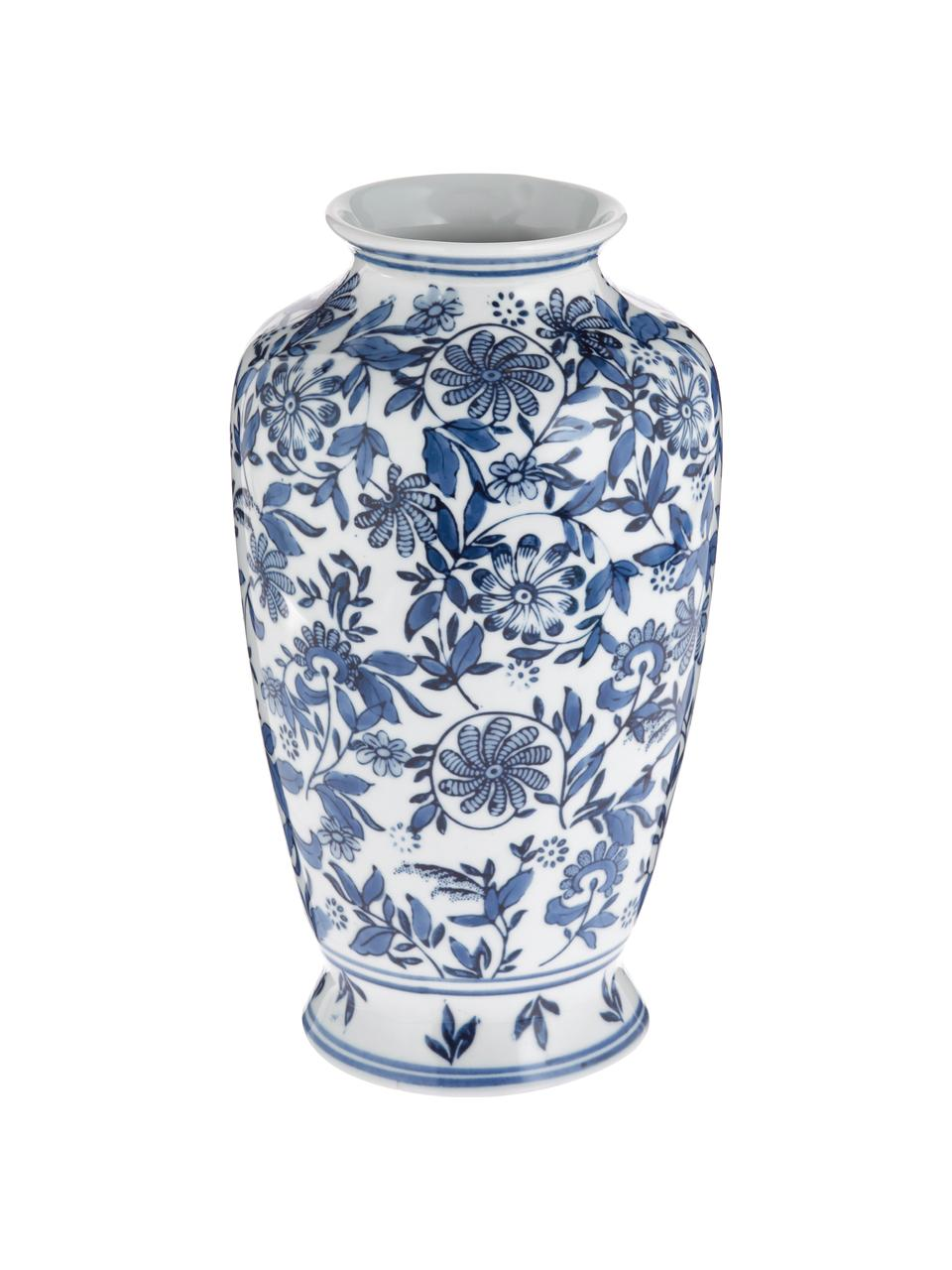 Vaso decorativo in porcellana Lin, Porcellana non impermeabile, Blu, bianco, Ø 16 x Alt. 31 cm