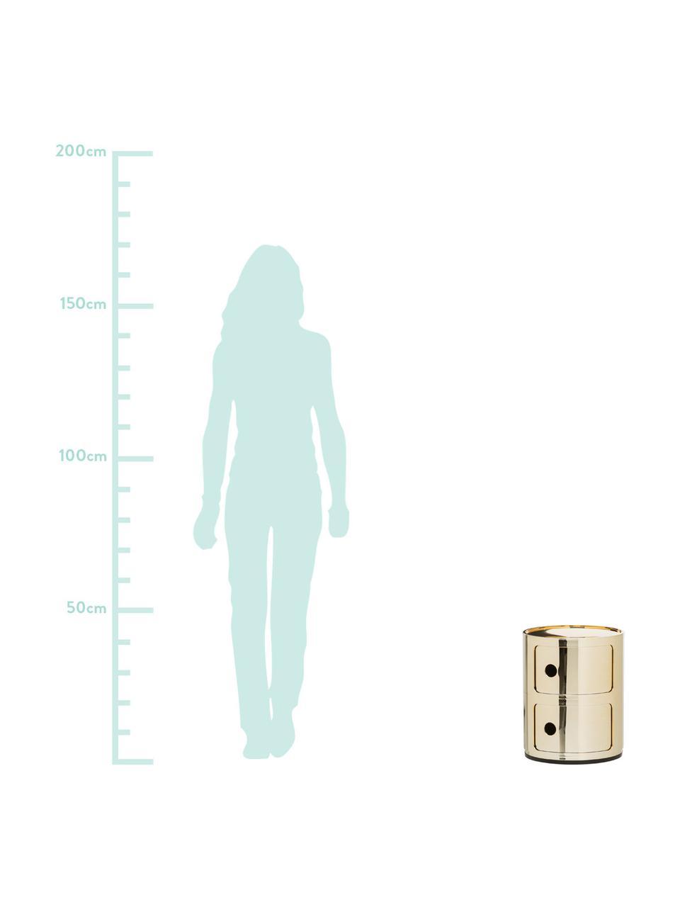 Comodino di design con cassetti Componibile, ABS metallizzato, Dorato, Ø 32 x Alt. 40 cm