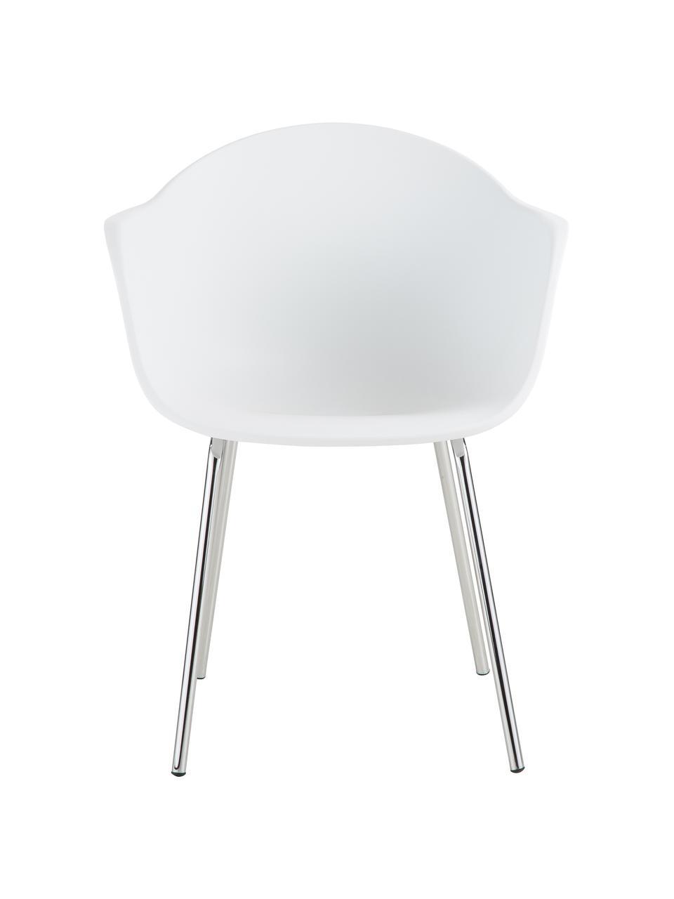 Kunststoff-Armlehnstuhl Claire mit Metallbeinen, Sitzschale: Kunststoff, Beine: Metall, galvanisiert, Weiß, Silber, B 60 x T 54 cm