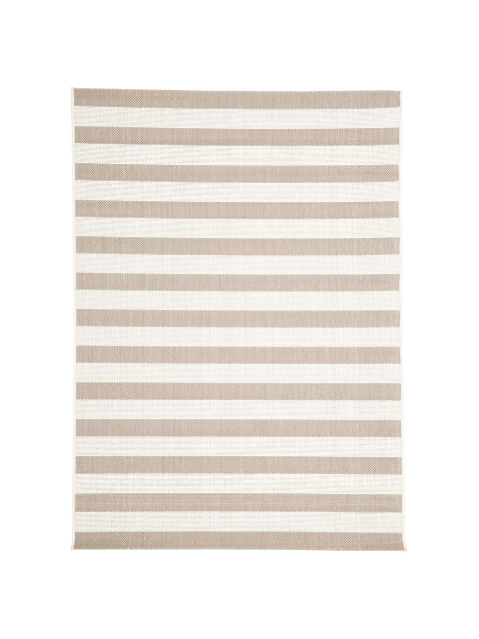 Gestreifter In- & Outdoor-Teppich Axa in Beige/Weiß, 86% Polypropylen, 14% Polyester, Cremeweiß, Beige, B 200 x L 290 cm (Größe L)