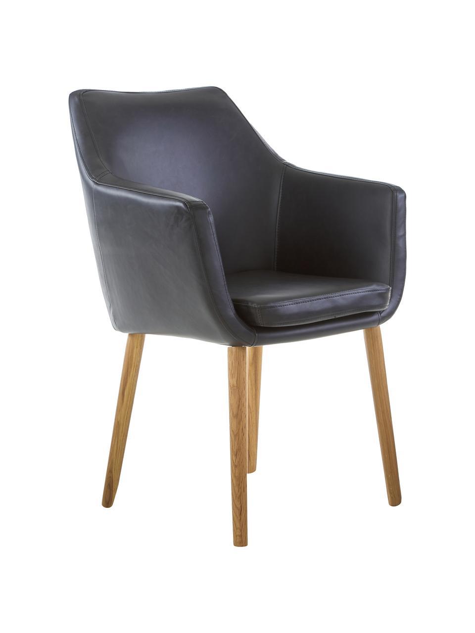 Chaise cuir synthétique Nora, Cuir synthétique noir, pieds chêne