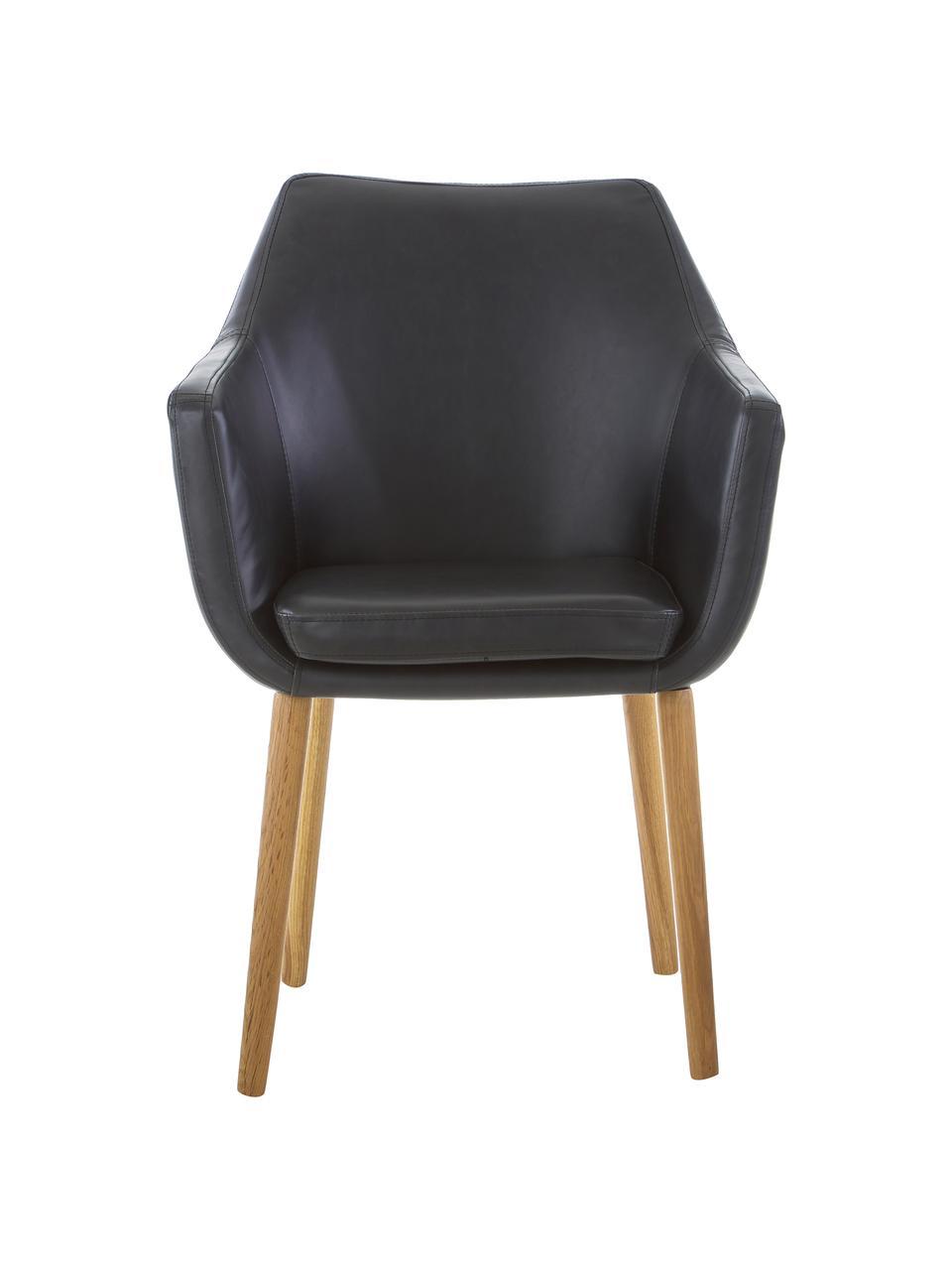 Sedia con braccioli  Nora, Rivestimento: pelle ecologica (poliuret, Gambe: legno di quercia, Similpelle nero, Gambe: legno di quercia, Larg. 56 x Prof. 55 cm