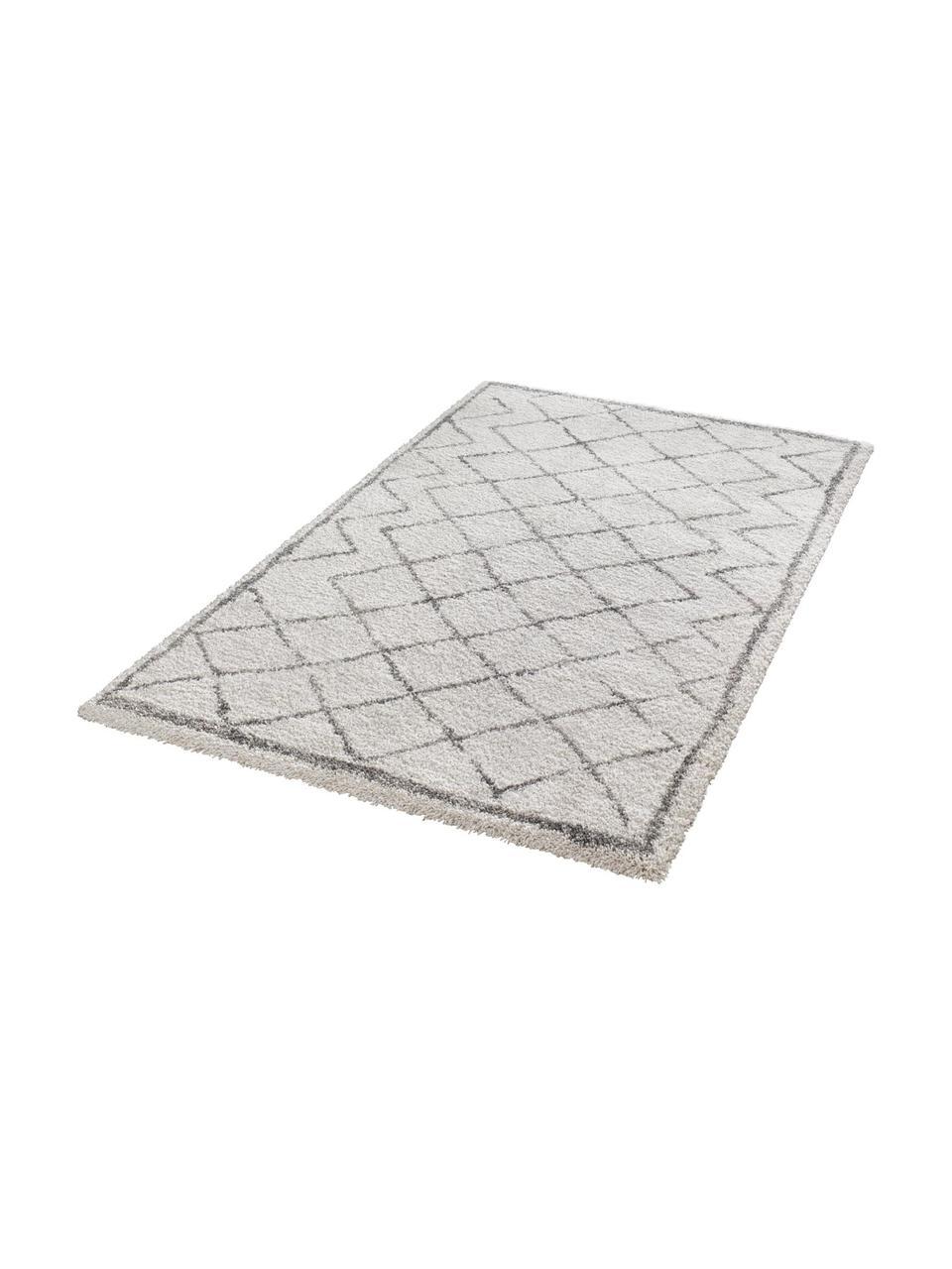 Hoogpolig vloerkleed Luna Diamond met ruitjesmotief, grijs/crèmekleur, Bovenzijde: 100% polypropyleen, Onderzijde: jute, Crèmekleurig, grijs, 80 x 150 cm