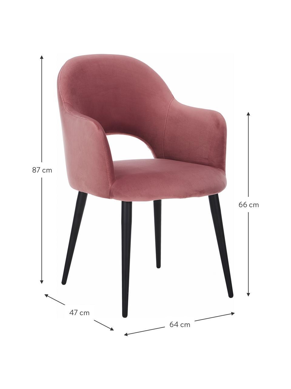 Sedia con braccioli in velluto rosa cipria Rachel, Rivestimento: velluto (poliestere) Il r, Gambe: metallo verniciato a polv, Velluto rosa cipria, Larg. 64 x Prof. 47 cm