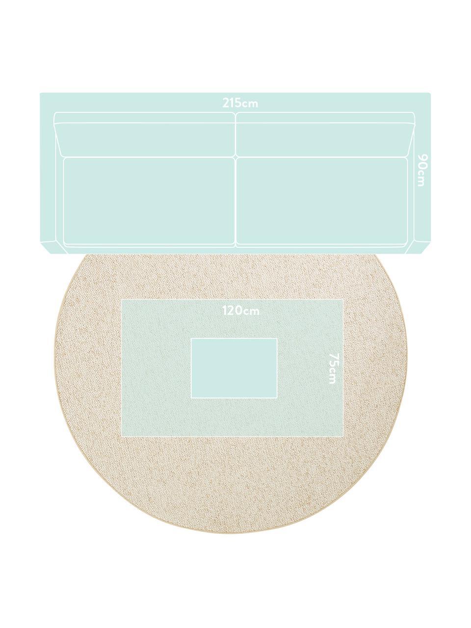 Rond vloerkleed Lyon met lussenpool, Bovenzijde: 100% polypropyleen, Onderzijde: vlies, Gemengd crèmekleurig, Ø 200 cm (maat L)