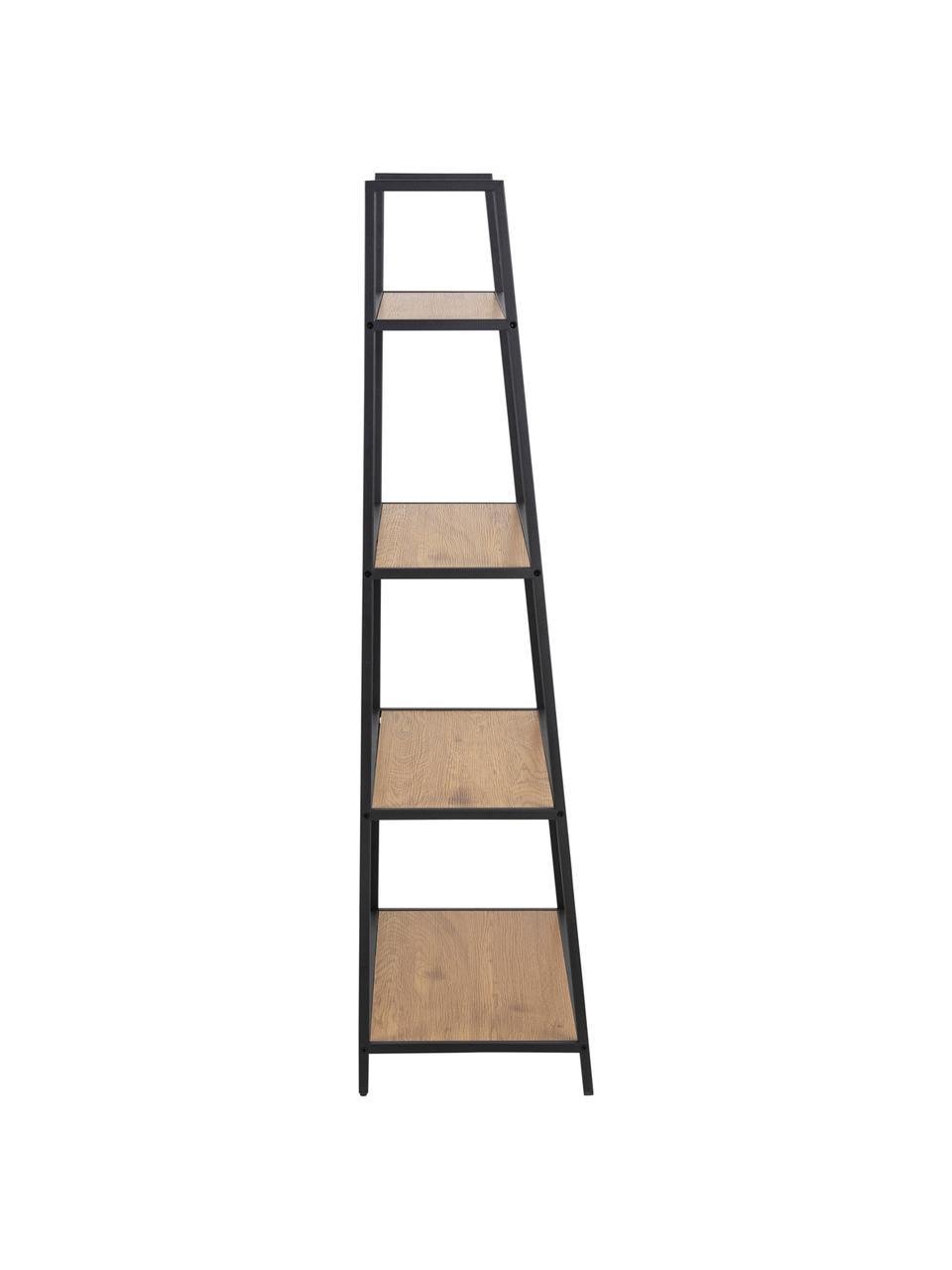 Bücherregal Seaford aus Holz und Metall, Einlegeböden: Mitteldichte Holzfaserpla, Gestell: Metall, pulverbeschichtet, Schwarz, 77 x 138 cm