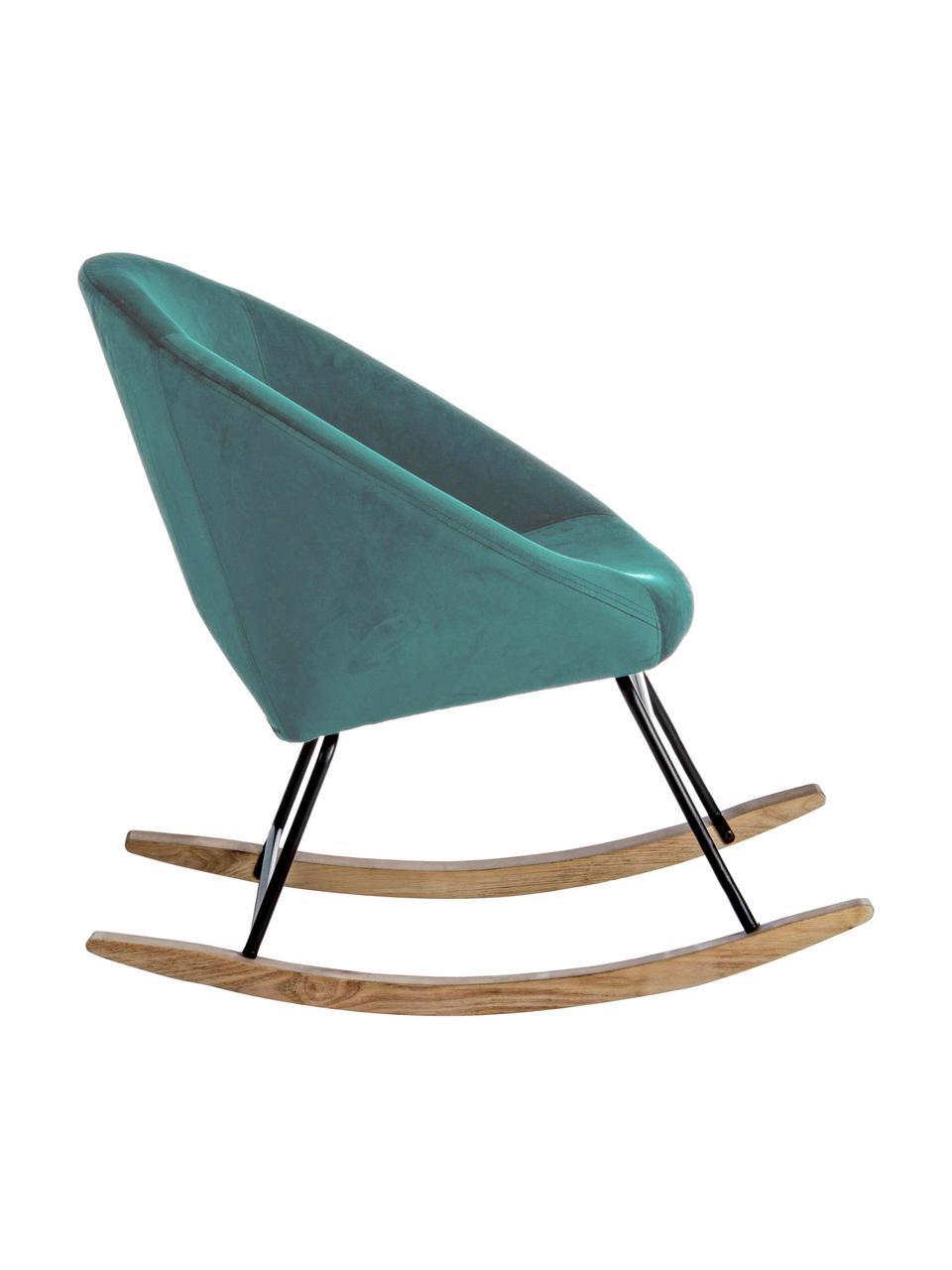 Fluwelen schommelstoel Annika in groen, Bekleding: polyester fluweel, Frame: gepoedercoat metaal, Frame: multiplex, metaal, Fluweel pauwblauw, B 74 x D 77 cm
