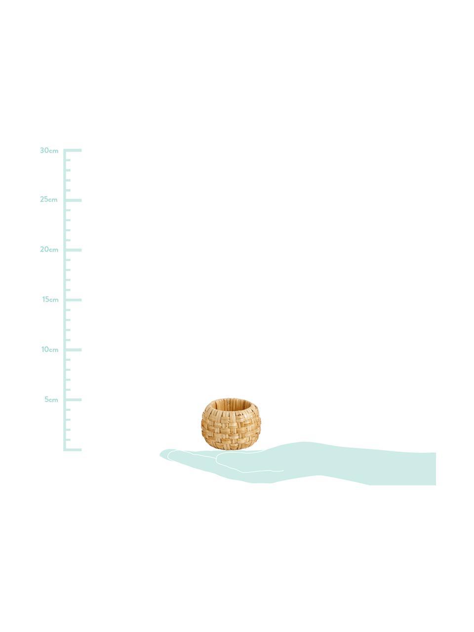 Serviettenringe Cane, 4 Stück, Außen: Schilf, Innen: Kunststoff, Beige, Ø 6 x H 4 cm