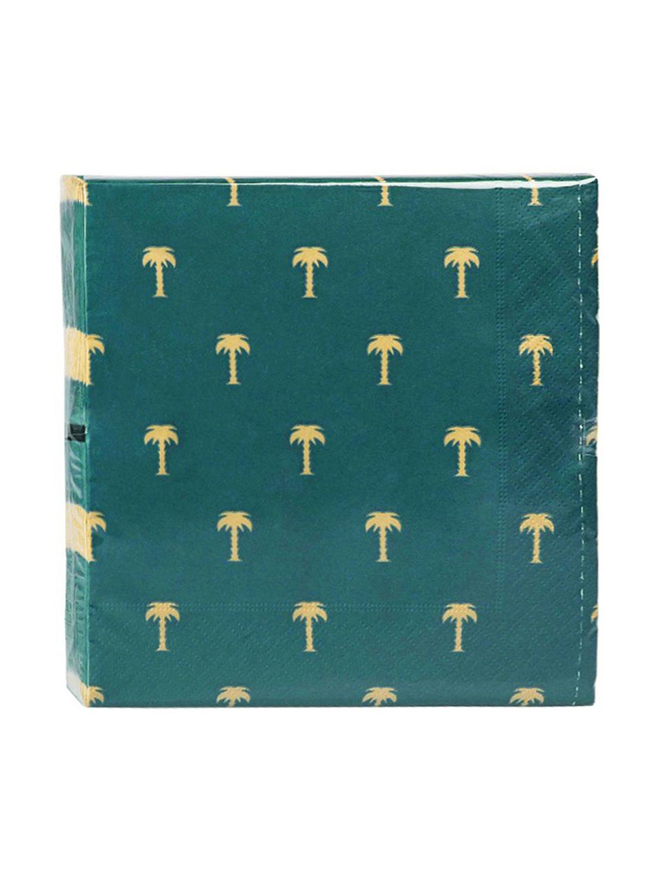 Serwetka z papieru Palmtree, 20 szt., Papier, Zielony, odcienie złotego, S 17 x D 17 cm