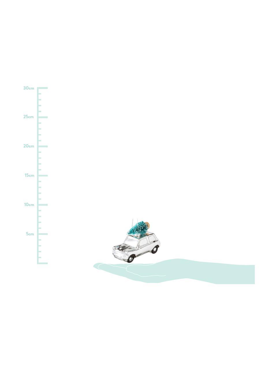 Decorazioni per l'albero di Natale Christmas Cars, 2 pz., Vetro, materiale sintetico, Bianco, argento, P 10 x A 7 cm