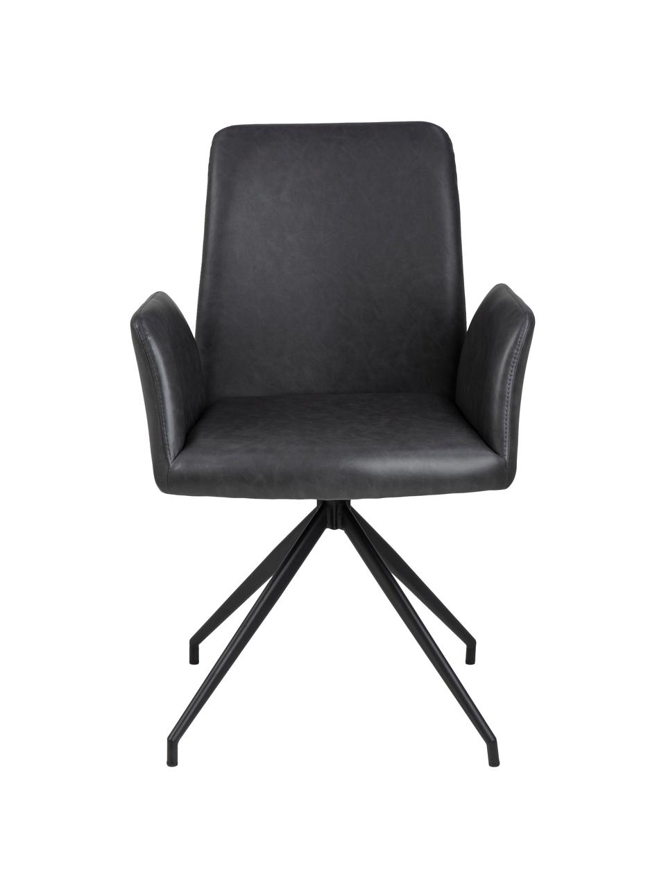 Chaise pivotante en cuir synthétique Naya, Cuir synthétique anthracite