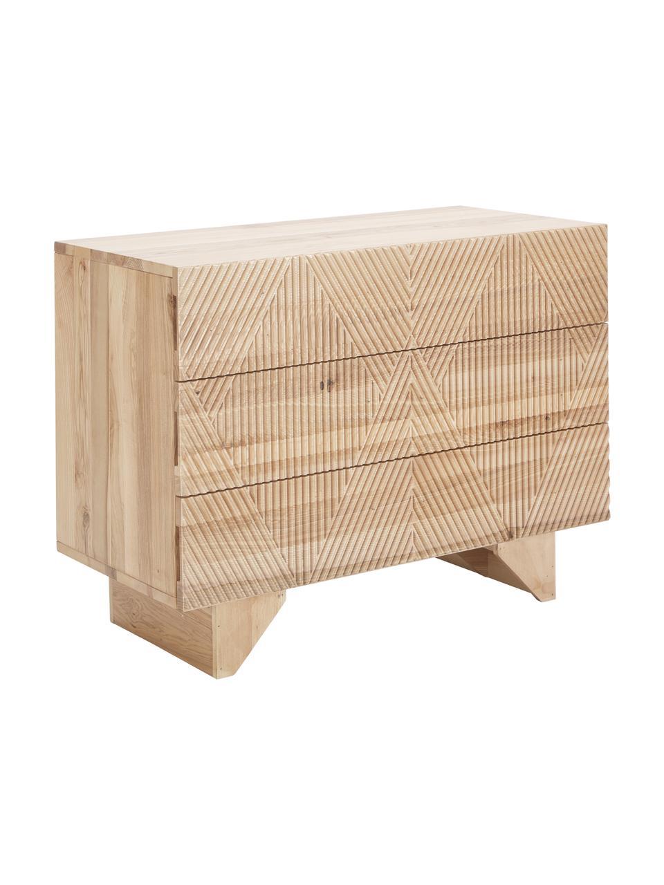 Szafka z szufladami litego drewna jesionowego Louis, Lite drewno jesionowe, lakierowane, Drewno jesionowe, S 100 x W 75 cm