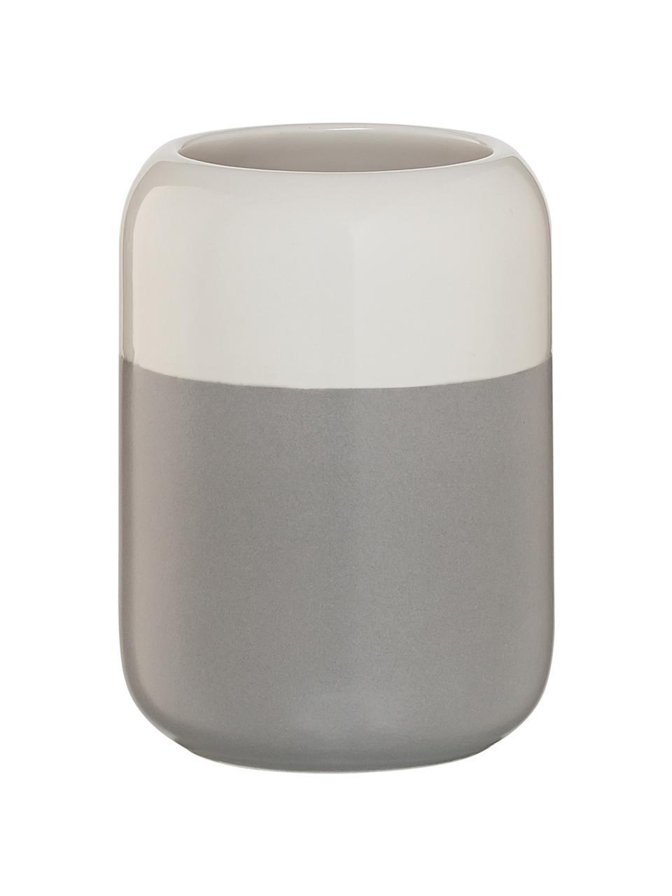 Kubek na szczoteczki Sphere, Porcelana, Jasny szary, biały, Ø 7 x W 10 cm