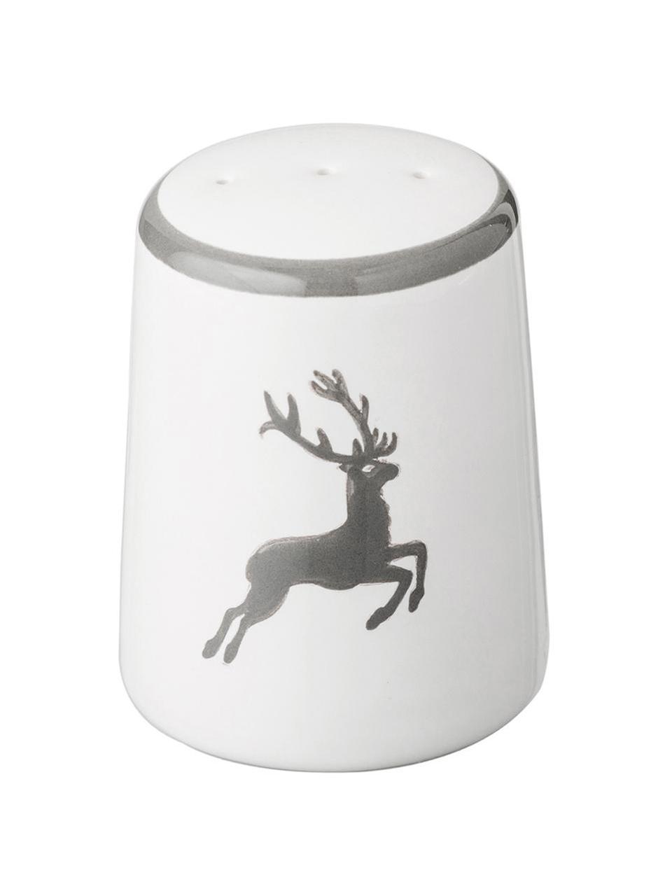 Handbeschilderde peperstrooier Classic Grey Deer, Keramiek, Grijs, wit, 4 x 6 cm