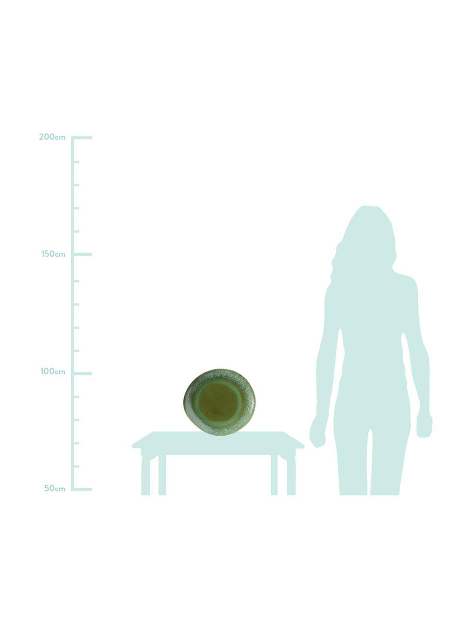 Handgemachte Platzteller 70's im Retro Style, 2 Stück, Keramik, Grüntöne, Ø 29 cm