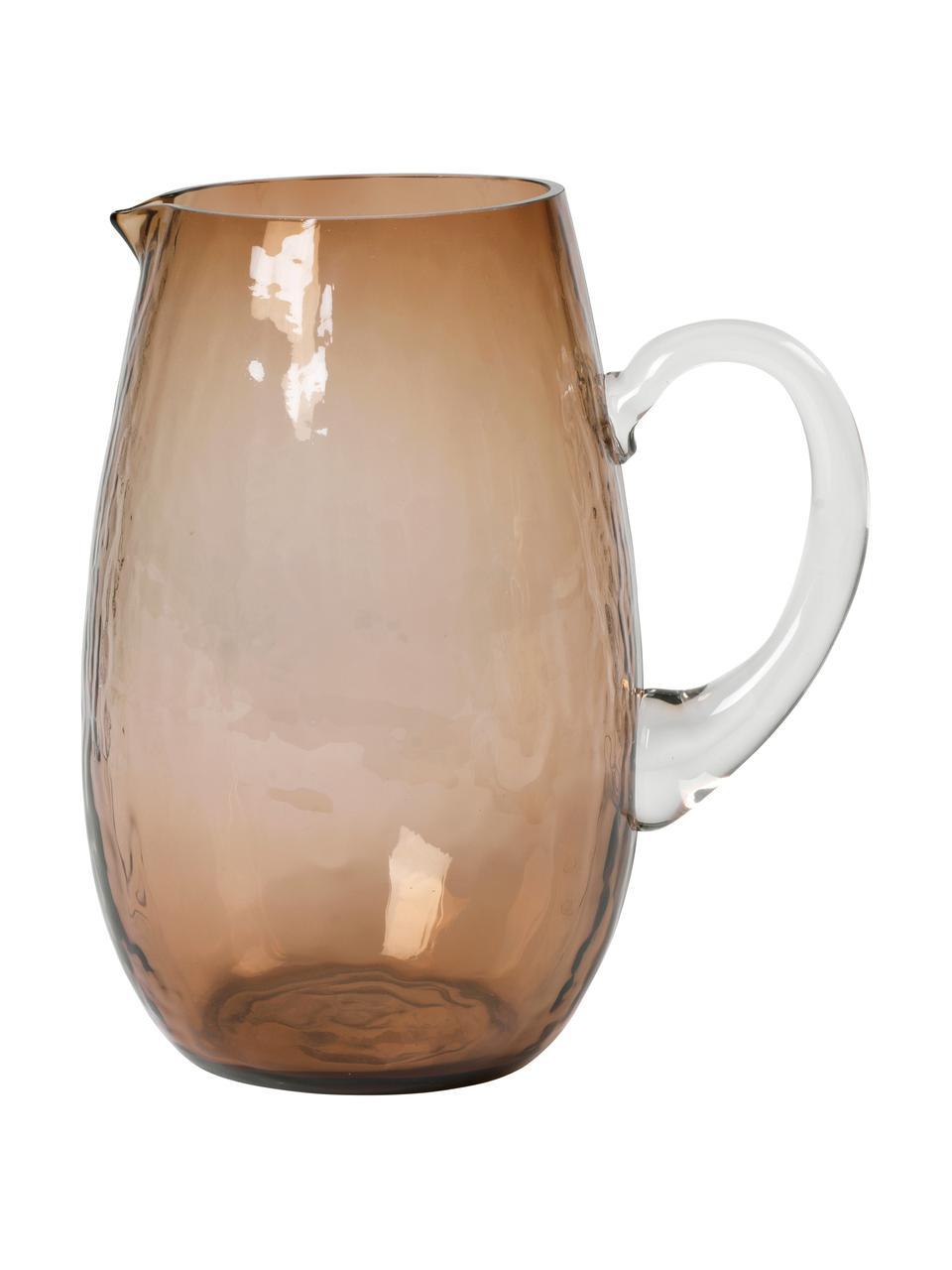 Brocca in vetro soffiato con superficie martellata Hammared, 2 L, Vetro, Marrone, Ø 14 x Alt. 22 cm