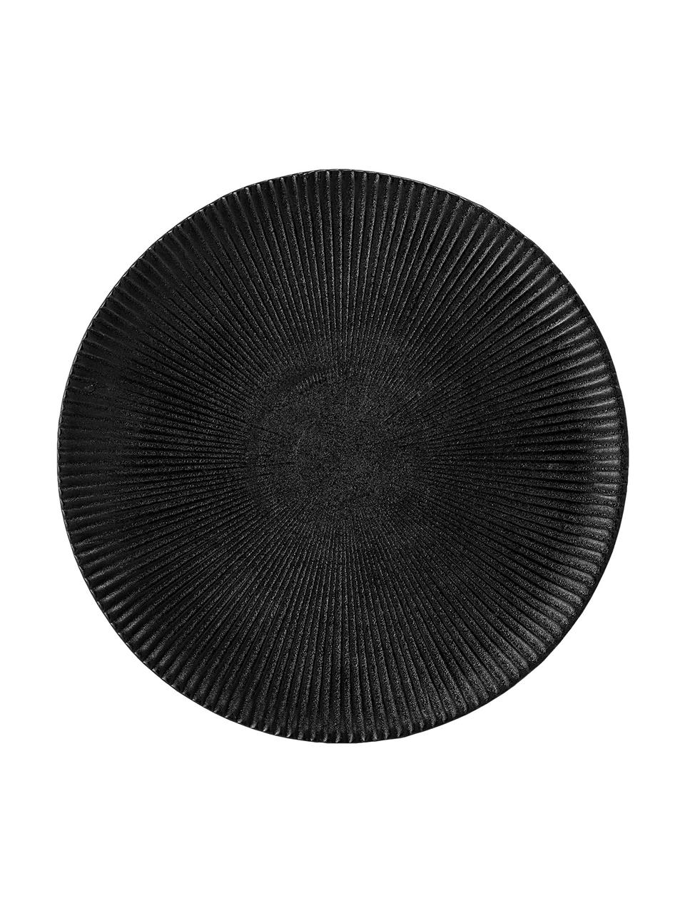 Frühstücksteller Neri mit Rillenstruktur in Schwarz matt, 2 Stück, Steingut Mit Rillenstruktur und leicht rauer Oberfläche, Schwarz, Ø 23 cm
