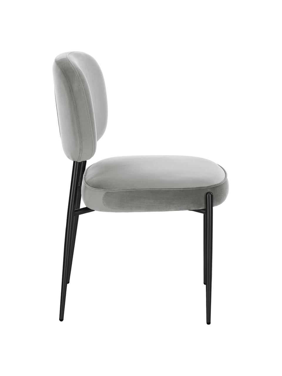 Sedia imbottita in velluto Viggo, Rivestimento: velluto (poliestere) 50.0, Velluto grigio, gambe nero, Larg. 49 x Prof. 66 cm