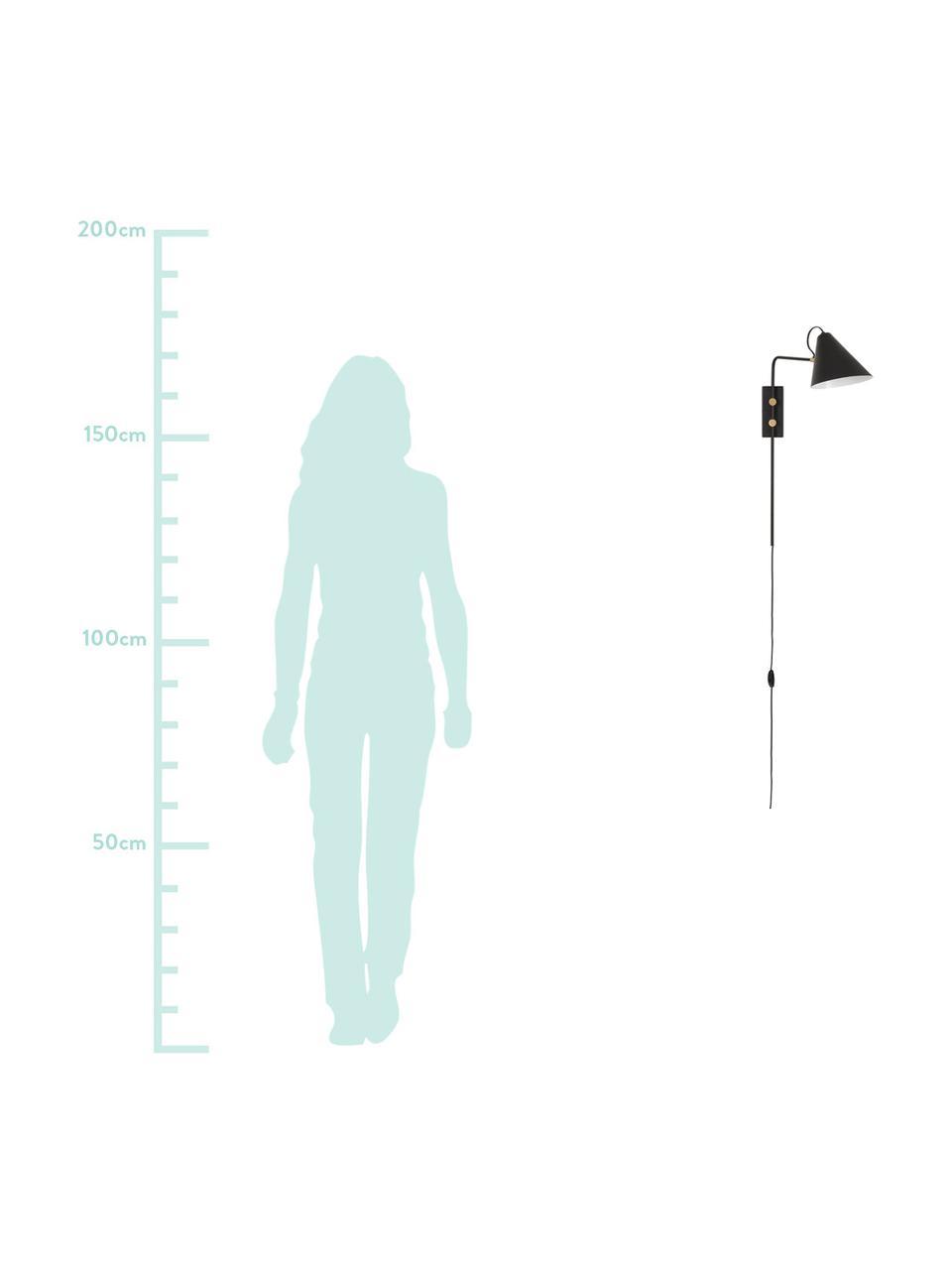 Wandleuchte Club mit Stecker, Lampenschirm: Eisen, pulverbeschichtet, Dekor: Metall, vermessigt, Leuchte: Schwarz<br>Details: Messing, 20 x 62 cm