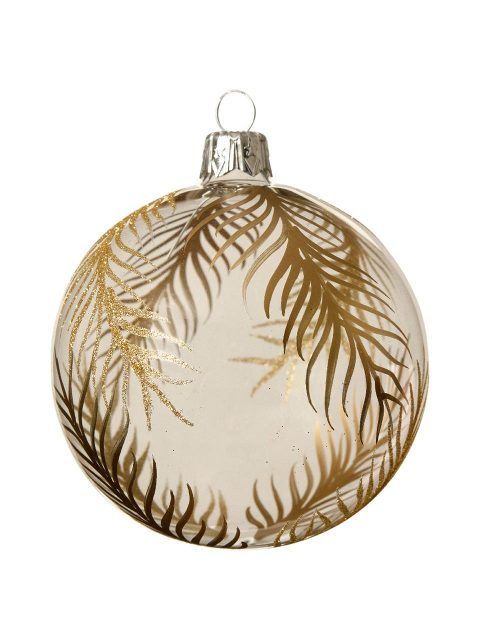 Palla di Natale Gold Leaves Ø 8 cm, 2 pz, Trasparente, dorato, Ø 8 cm