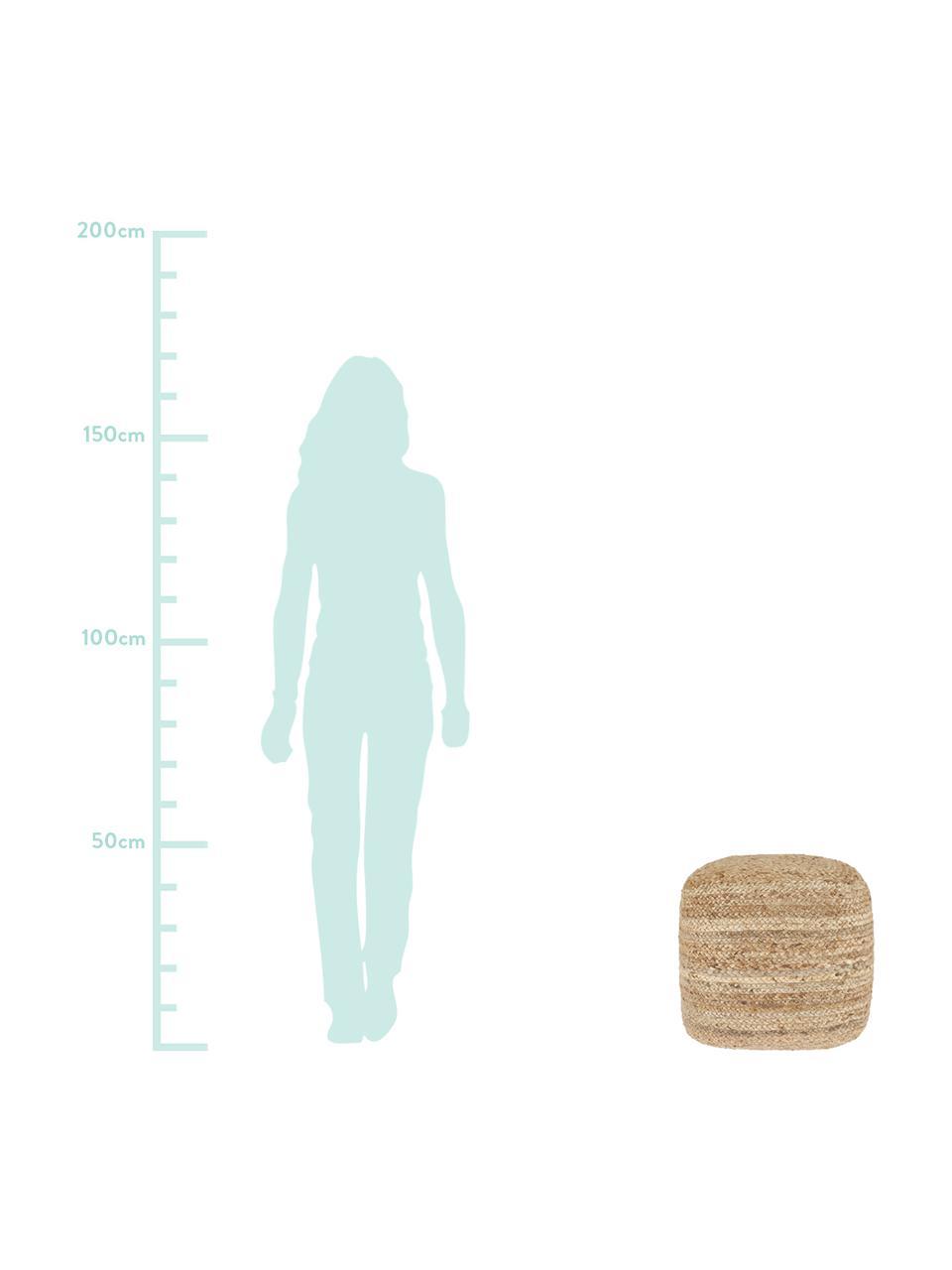 Handgefertigter Pouf Bono im Boho Style, quadratisch, Bezug: Jute, Beige, 45 x 45 cm
