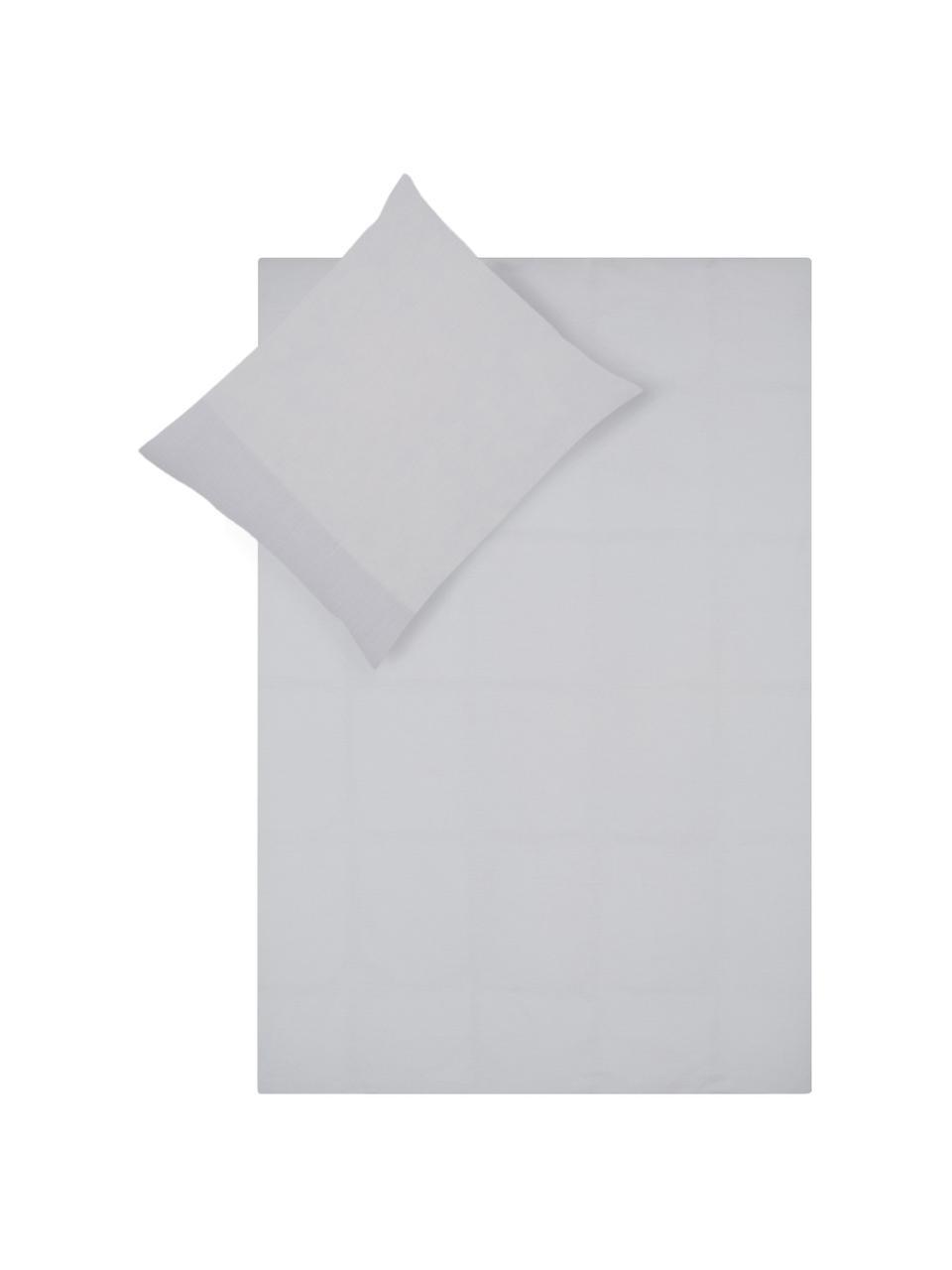 Renforcé dekbedovertrek Chambre, Weeftechniek: renforcé, Lichtgrijs, 140 x 220 cm