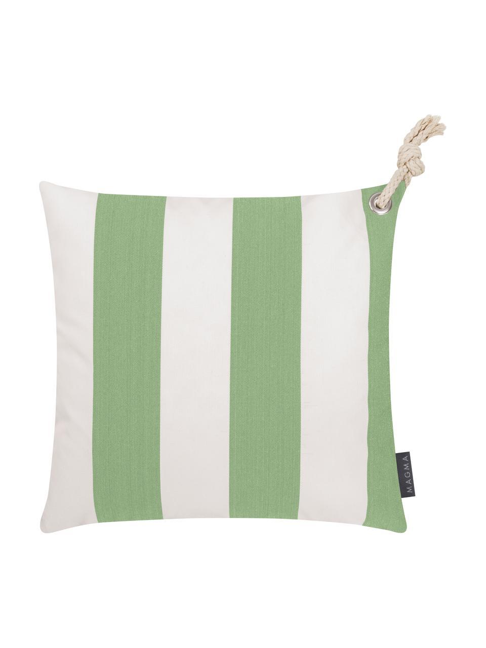 Gestreifte Outdoor-Kissenhülle Santorin in Weiß/Grün, 100% Polypropylen, Teflon® beschichtet, Grün, Weiß, 40 x 40 cm