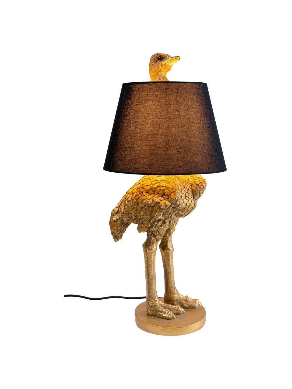 Grande lampe de table design Ostrich, Couleur laitonnée